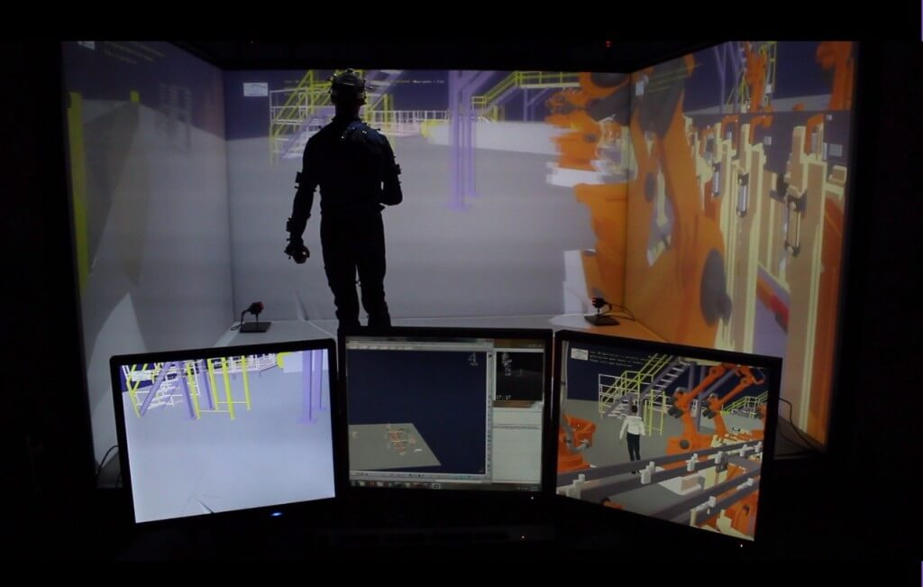 Human Body Tracking by TechViz virtual reality for industrials